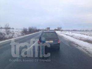 Катастрофа между кола и снегорин на пътя Пловдив-Хасково! СНИМКИ