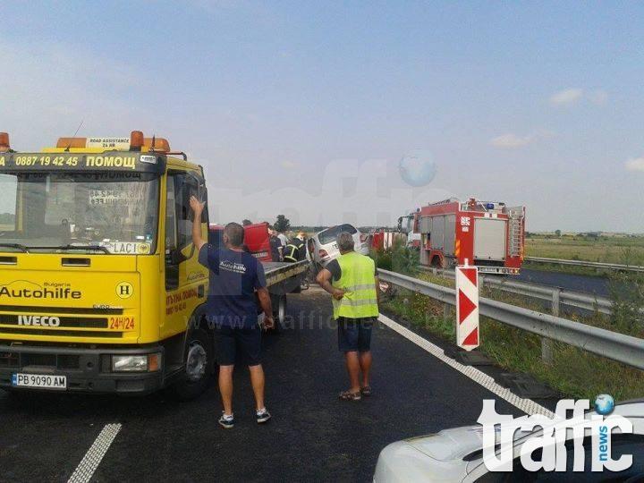 Дете и мъж са загинали във верижната катастрофа на магистралата край Пловдив СНИМКИ