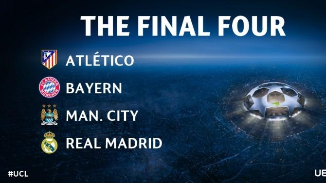 Вижте кой кого среща в полуфиналите на Шампионската лига