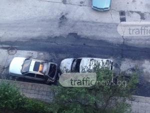 Два автомобила изгоряха зад Кауфланд! Подозират умишлен палеж СНИМКИ