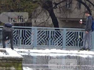 Пловдивски ученици се забавляват, като целят коли със сняг ВИДЕО