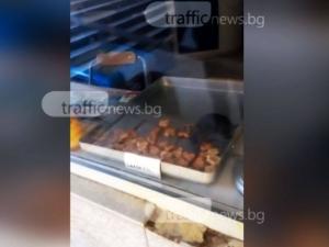 Плъх яде соленки на витрината на баничарница в Пловдив ВИДЕО