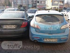 Абсурдно паркиране в мол Пловдив завърши с мистерия, към мястото идва полиция СНИМКИ