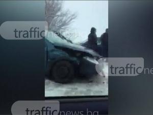 Тежка катастрофа на изхода на Пловдив, движението е затруднено ВИДЕО