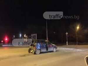 Джип и кола се удариха до Ескалибур, колата е оставена в средата на кръстовището СНИМКИ