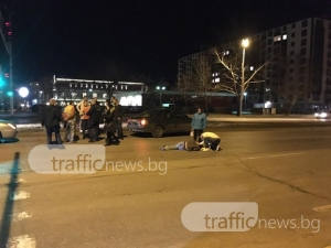 Ауди блъсна пешеходец на кръстовище в ЖР Тракия! 20 минути няма линейка ВИДЕО+СНИМКИ