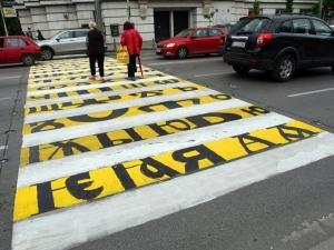 Кирилицата грейна на столична пешеходна пътека