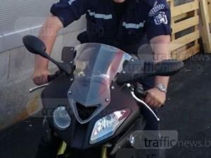 Шофьор не спря на стоп, отнесе полицай с мотор до Стъкларския завод
