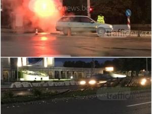 Два инцидента в Кършияка: Кола се запали на кръстовище, опел се заби в мантинела  СНИМКИ