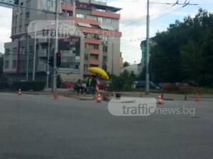 Хапване, пийване и чадърче – насред булевард в Пловдив СНИМКА