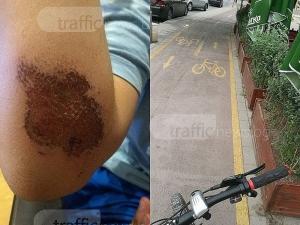 Пловдивски ученик се преби с колелото си по велоалея, притисната от кръчма в Кършияка СНИМКИ