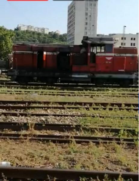 Машинисти обгоряха при пожар в маневрен локомотив ВИДЕО