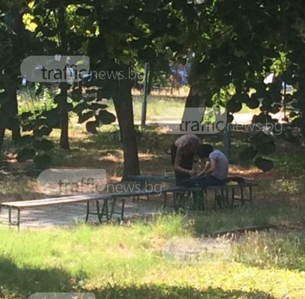 Двама се боцкат пред деца в пловдивски парк, полицията: Това ги успокоява СНИМКИ