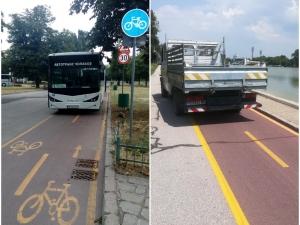 Автобус и камион се метнаха на велоалея, пловдивчанин пита: Докога? СНИМКИ