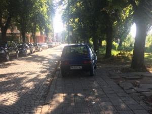 Нахалник окупира тротоар, пешеходците - на улицата или в Марица