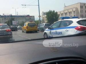 Пет коли се нанизаха една в друга във верижна катастрофа в центъра на Пловдив СНИМКА