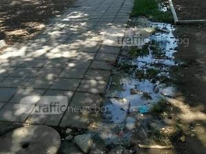 Воня от канализацията мъчи хората на детска площадка в Прослав СНИМКИ