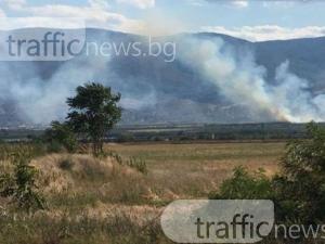 Отново пожар край Куклен, горят сухи треви СНИМКИ