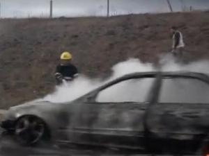 "БМВ пламна на магистрала ""Тракия"""