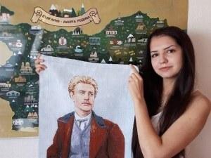 18-годишна асеновградчанка избродира гоблен с лика на Левски СНИМКА