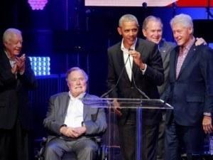 Живите бивши президенти на САЩ заедно на концерт