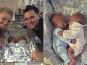 Близнаци се родиха преждевременно и спасиха животите си с прегръдки