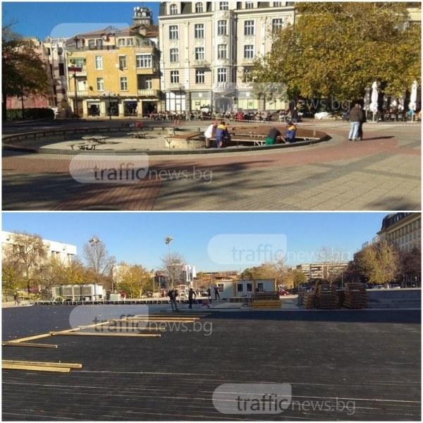 Пловдив се готви за Коледа с гигантска ледена пързалка и 15-метрова елха СНИМКИ