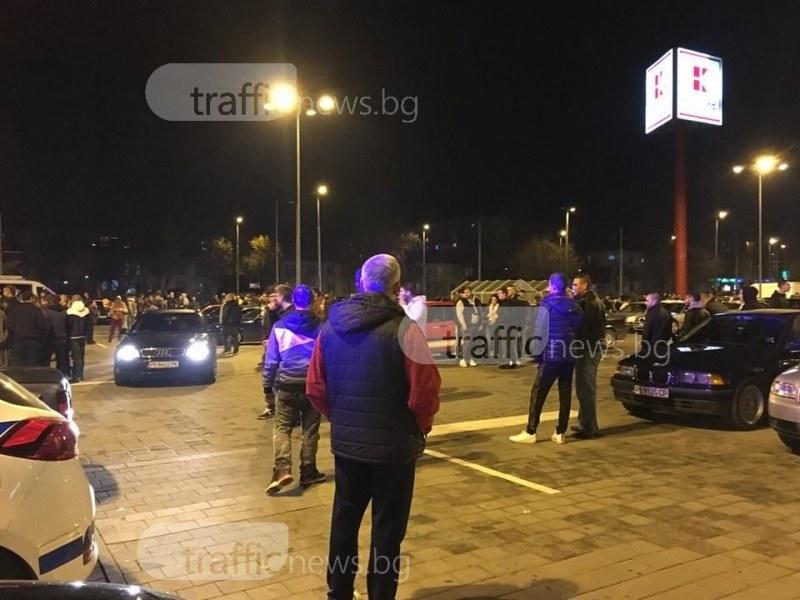Полицейска блокада на Кауфланд в Пловдив, униформени проверяват шофьори СНИМКИ