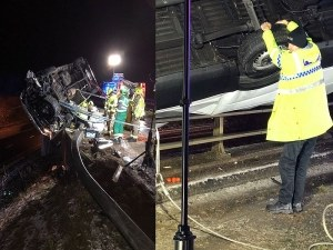 Супергерой? Полицай удържа обърнал се минибус да не падне от мост СНИМКИ