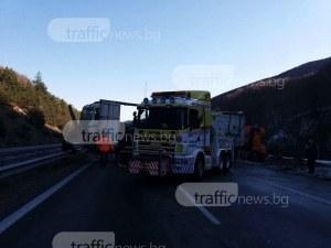 Мелето с тирове блокира магистрала Тракия към Пловдив СНИМКИ