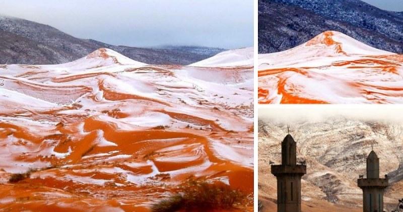Най-горещата пустиня в света побеля от сняг