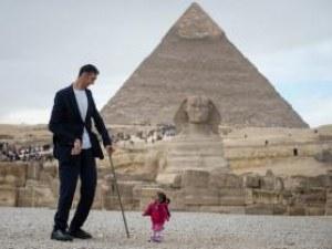 Най-високият и най-ниската се събраха пред пирамидите в Гиза