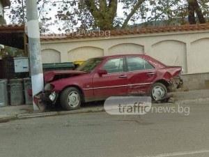 Пиян до козирката шофьор се заби в стълб край Пловдив