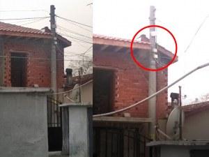 """Инженерен гений! Ромско имение """"подпира"""" електрически стълб в Столипиново ВИДЕО"""