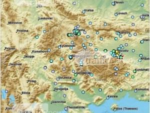 Карта показва къде се е усетил трусът с епицентър до Пловдив