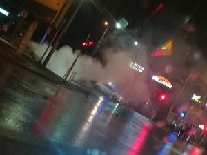 Такси се взриви на пловдивски булевард СНИМКА
