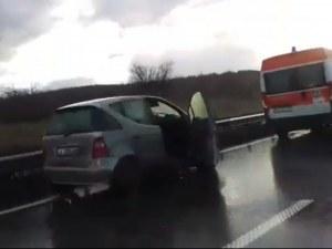 Тежка катастрофа на магистрала Тракия между Пловдив и София ВИДЕО