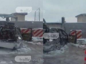 Катастрофа в Карлово! Автомобил се натресе в поделението в града