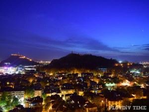 От върха на Сахат тепе - живописен залез над Пловдив СНИМКИ