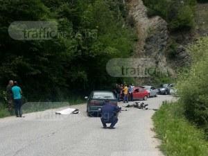 Жестока катастрофа в Пловдивско! Моторист загина след удар в кола СНИМКИ
