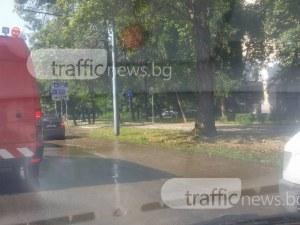 """Булевард """"Васил Априлов"""" се превърна в река! В района се образува голяма тапа СНИМКИ"""