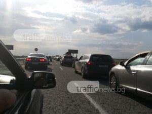 Три катастрофи затапиха АМ Тракия край Пловдив