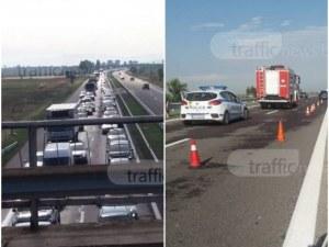 """Адско задръстване на магистрала """"Тракия"""", пловдивчани чакат с часове ВИДЕО и СНИМКИ"""