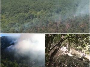 Няколко нови огнища от пожара край Карлово са пламнали през изминалата нощ ВИДЕО