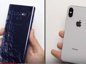 Как се чупи смартфон? Samsung срещу Iphone в зрелищна битка ВИДЕО