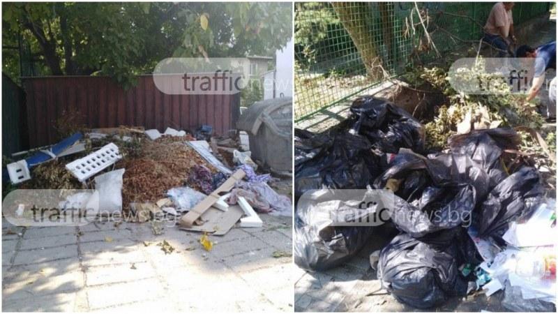 Камари с отпадъци се натрупаха край  детска градина и училище в Кючука СНИМКИ
