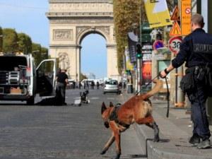 Страх в Париж! Куче и робот за проверка на съмнителна кола до Триумфалната арка