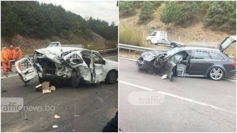 Тежка катастрофа на АМ Тракия! Две коли са смачкани до неузнаваемост  СНИМКИ
