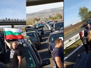 """Започна се! Протестиращи блокираха АМ """"Тракия"""" заради скъпите горива ВИДЕО"""