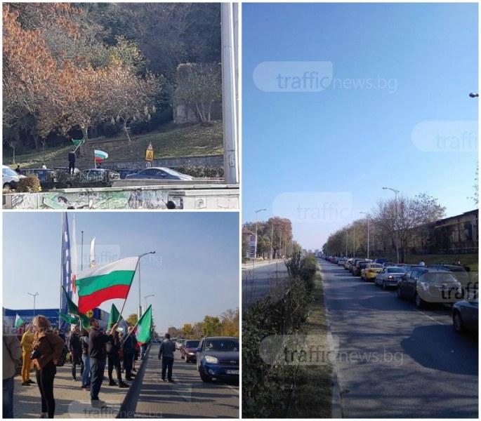 Блокада в Пловдив! Стотици коли обикалят града заради бедността и високите цени на горивата СНИМКИ